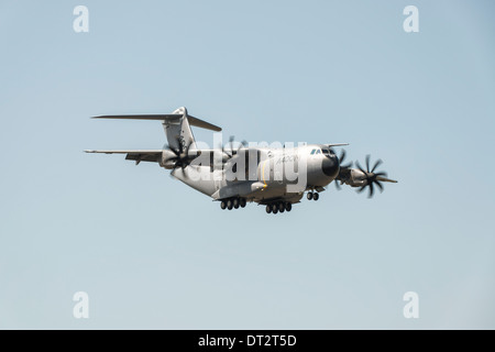 Airbus A400M Atlas, Europe's new turboprop powered military transport aircraft, displays at the 2013 RIAT - Stock Photo