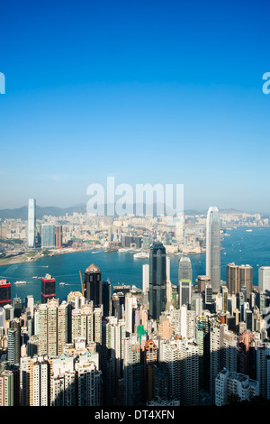 View of skyline of Hong Kong from The Peak - Stock Photo