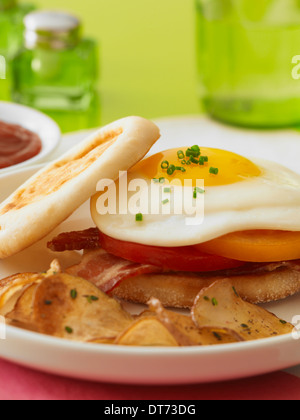 A close up shot of a sunny side up egg sandwich with bacon and tomatoes on an English muffin with breakfast fried - Stock Photo