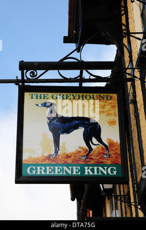 Sign for The Greyhound Public House, Lavenham, Suffolk. - Stock Photo