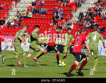 Scene from soccer match between Real Mallorca and Sporting Gijon on Spain´s second division - Stock Photo