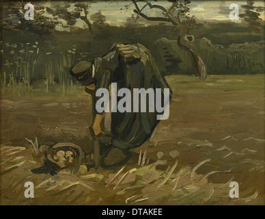 Peasant woman, harvesting potatoes, 1885. Artist: Gogh, Vincent, van (1853-1890) - Stock Photo