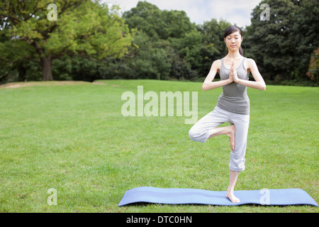 Young woman in park practicing yoga tree pose - Stock Photo