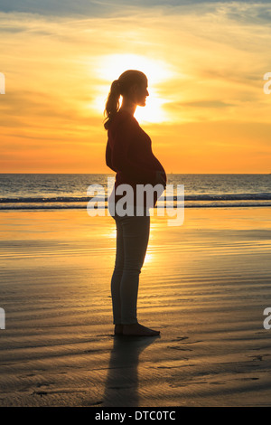Pregnant mid adult woman on beach at sunset, San Diego, California, USA - Stockfoto