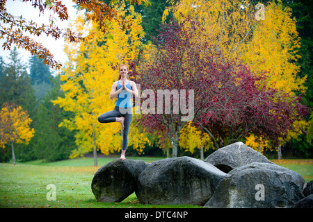 Young woman practising yoga on rock - Stock Photo