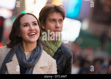 Young tourist couple, New York City, USA - Stock Photo