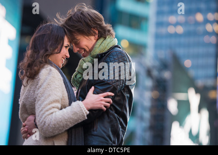 Young romantic couple on vacation, New York City, USA - Stock Photo