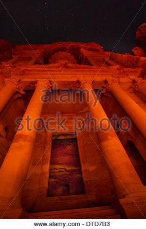 Looking Up At The Candlelit Treasury (Al Khazneh), Petra, Jordan - Stock Photo