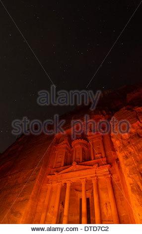 The Treasury (Al Khazneh) In Petra Light By Hundreds Of Candles Under A Canopy Of Stars, Petra, Jordan - Stock Photo