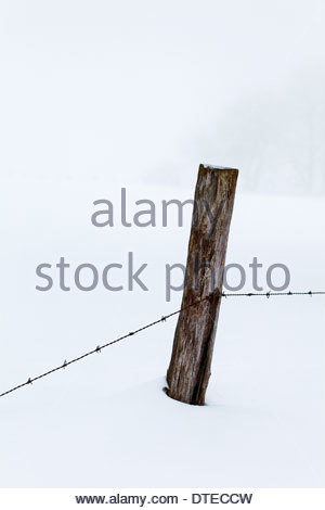 Barbed wire fence in deep snow, Bavaria, Germany Stock Photo ...