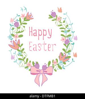 Happy Easter floral laurel wreath - Stock Photo