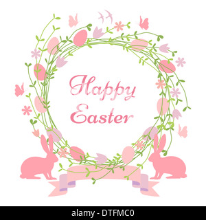 Happy Easter card, floral wreath with bunnies and birds - Stock Photo