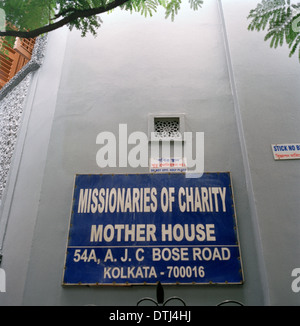 Mother House in Calcutta (Kolkata) in West Bengal in India. Mother Teresa's Missionaries Of Charity building. - Stockfoto