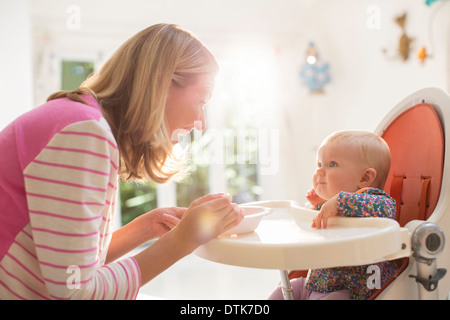 Mother feeding baby girl in high chair - Stock Photo