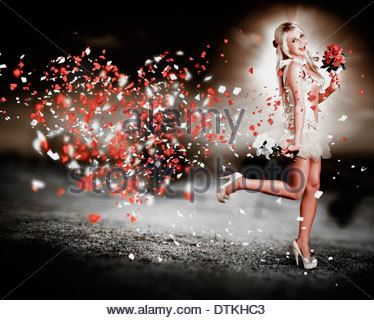 Beautiful Romantic Blond Woman Running With All Heart In The Race Of Love - Stock Photo