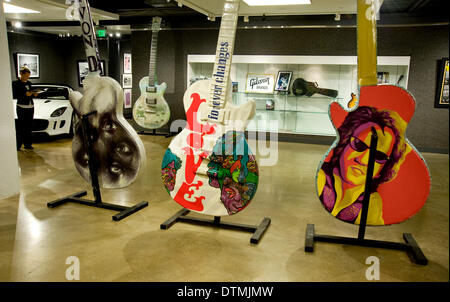 LA, California, USA. 20th Feb 2014.  The 10-foot tall Gibson guitar art sculptures that have lined THE SUNSET STRIP - Stock Photo