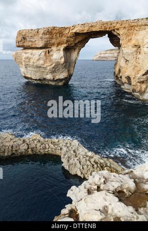 The Azure Window, Dwejra Point, Gozo, Malta - Stock Photo