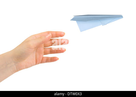 Hand and flying money plane - Stock Photo