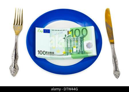 Money on plate - Stockfoto