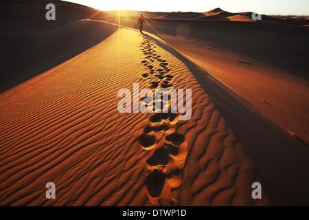 Hike in desert - Stock Photo