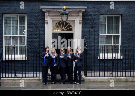 Westminster London, UK. 25th February 2014. British Women's Curling team bronze medalists, Eve Muirhead, Anna Sloan, - Stock Photo