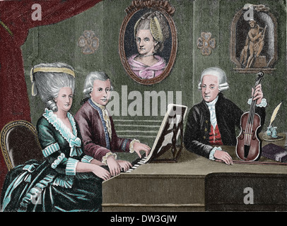 Wolfgang Amadeus Mozart (1756-1791). Composer of the Classical era. Mozart and his family. Colored engraving. - Stock Photo