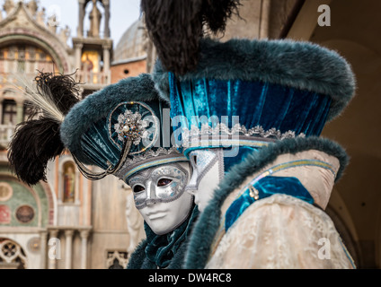 Two persons dressed up for the Carnival in Venice, Italy, Europe - Stock Photo