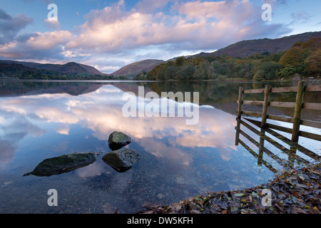 Sunset above Grasmere in the Lake District National Park, Cumbria, England. Autumn (October) 2012. - Stock Photo