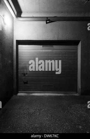 Garage doors at night - Stock Photo
