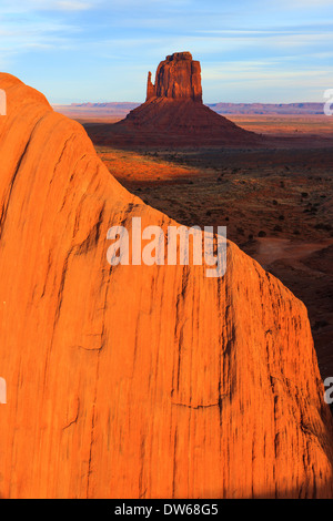 Sunset in Monument Valley Navajo Tribal Park on the border of Utah and Arizona - Stock Photo