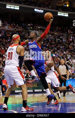 Philadelphia, Pennsylvania, USA. March 1, 2014: Philadelphia 76ers shooting guard Tony Wroten (8) goes up for the - Stock Photo