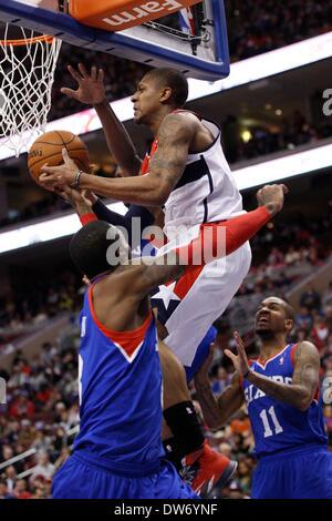 Philadelphia, Pennsylvania, USA. March 1, 2014: Washington Wizards shooting guard Bradley Beal (3) goes up for the - Stock Photo