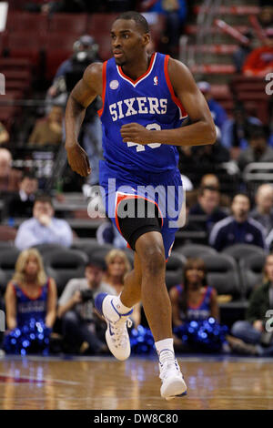 March 1, 2014: Philadelphia 76ers power forward Jarvis Varnado (40) in action during the NBA game between the Washington - Stock Photo