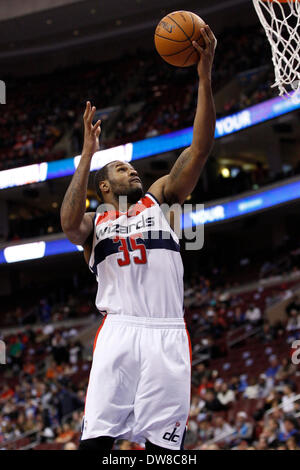 March 1, 2014: Washington Wizards power forward Trevor Booker (35) goes up for the shot during the NBA game between - Stock Photo