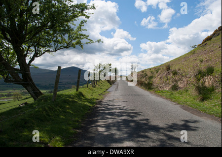 Typical English Lake District narrow road on Souther Fells (Back of Skiddaw) on a sunny spring day. This bit of - Stock Photo