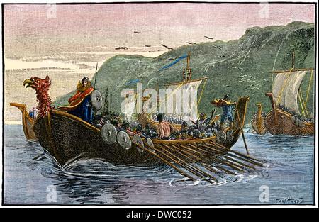 Norsemen sailing down the coast of North America. - Stock Photo