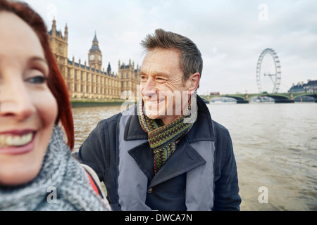 Mature couple sightseeing, London, UK - Stock Photo
