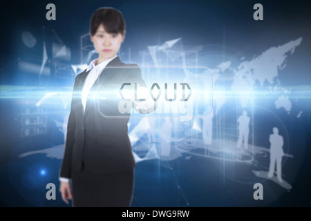 Cloud against glowing technological background - Stock Photo
