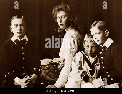 Children of King George V - Princes Henry John and George and Princess Mary - Stock Photo