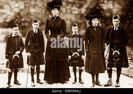 Queen Mary and Princes Albert Henry George and Princess Mary - Stock Photo