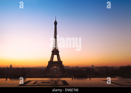 beautiful panoramic view on Eiffel tower in Paris, France - Stock Photo