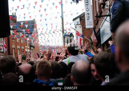 The Royal Shrovetide Football Match ,Ashbourne ,Derbyshire,UK.2014. - Stock Photo