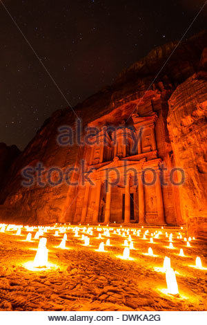 The Treasury At Petra By Candle Light, Petra, Jordan - Stock Photo