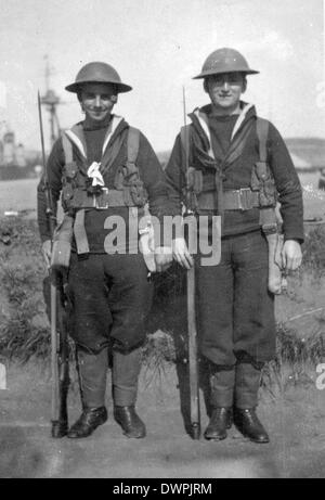Royal Navy sailors of the great war in military kit used for shore operations - Stock Photo