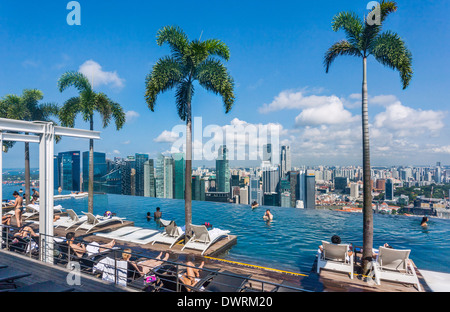 Singapore, infinity edge swimming pool at the Sands SkyPark on 57th storey of the Marina Bay Sands Hotel - Stock Photo