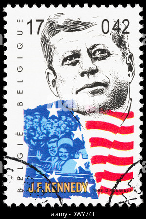 Belgium postage stamp with an illustration of John F Kennedy. - Stockfoto
