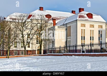 Building of the former Koenigsberg city hall (german Stadthalle). Kaliningrad (until 1946 Koenigsberg), Russia - Stock Photo