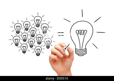 Hand sketching Teamwork light bulbs concept with black marker. Many small ideas equal a big one. - Stockfoto