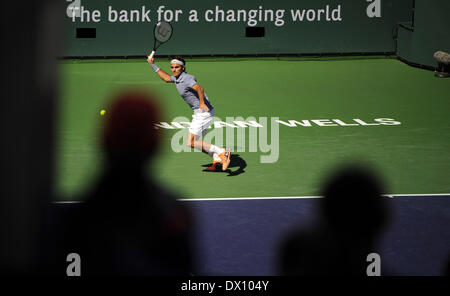 March 16, 2014, Indian Wells, CA: [7] Roger Federer (SUI) vs in action vs [2] Novak Djokovic (SRB) during the men's - Stock Photo