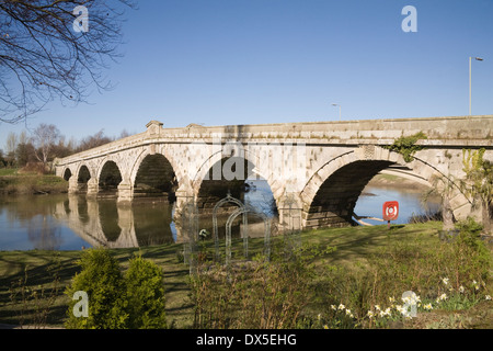 Atcham Old Bridge Shropshire England UK Built in 1776 By John Gwynne spans River Severn - Stock Photo